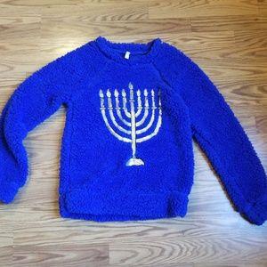 Women's Hanukkah Menorah sequin sweater